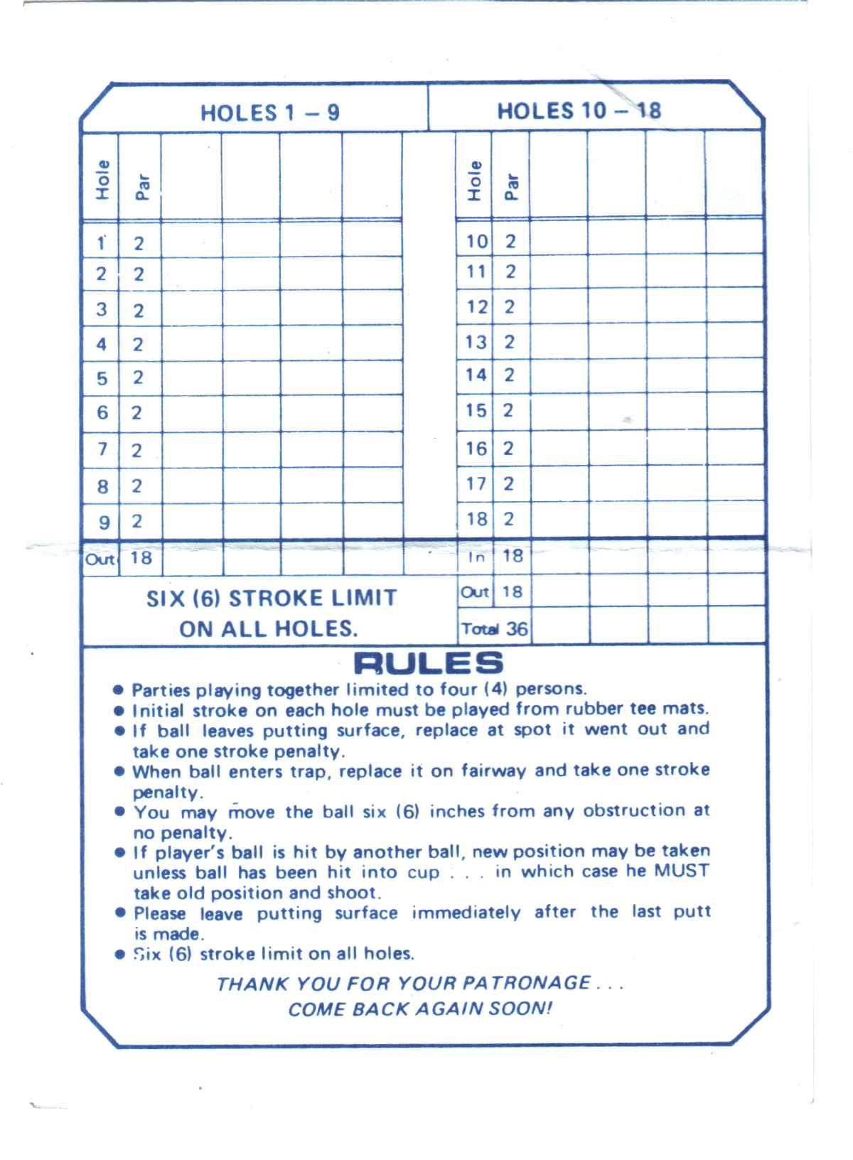 Score cards of crazy golf, miniature golf and adventure ...